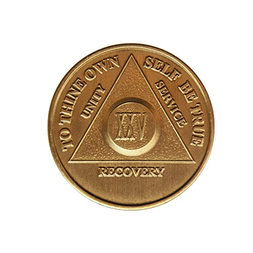 25 Year Bronze AA (Alcoholics Anonymous) - Sober / Sobriety / Birthday / Anniversary / Recovery / Medallion / Coin / Chip by Generic