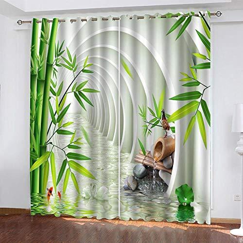 TTBBBB tende oscuranti camera da letto bambini - Estensione spaziale delle foglie di bambù verde - L 264 x A 247 cm Tenda Termica Isolante con Occhielli per la Tua Casa 100% Poliestere per camera da l