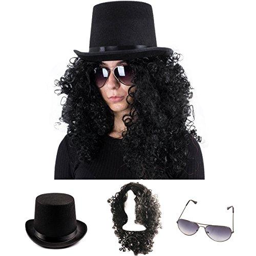 Tigerdoe Rockstar Costume - 80s Costumes for Men - Heavy Metal Wig - (3 Pc Set) (Black Wig, Top Hat, Aviators)