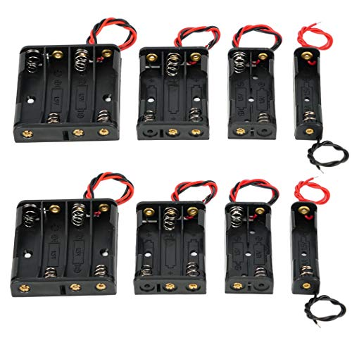 AAA Battery Holder with Leads 2 AAA Battery Holder 3 AAA Battery Holder with Wires 4 AAA Battery Holder (Pack of 8) (8 pcs-AAA)
