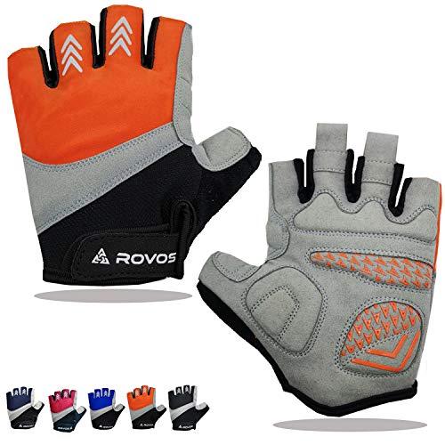 ROVOS Bike Gloves Men/Women Cycling Gloves Bicycle Gloves Bicycling Gloves Half Finger Breathable Mountain Sports Cycling Gloves (Orange, Large)
