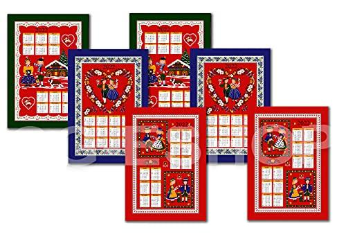 Confezioni Giuliana Set 6 Asciugamani da Cucina Natale Calendario 2022 Disegni Assortiti strofinaccio Tirolese