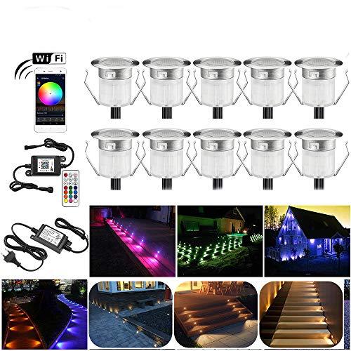 10er Wifi RGBWW LED Bodeneinbauleuchten Arbeitet mit Alexa, Google Home,RGBWW (4 in 1) Ø31mm IP67 Wasserdicht 0.6W LED Einbaustrahler Full Kit