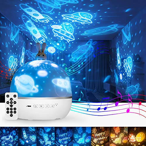 Star Night Light Projector, Baby Night Light for Kids with Timer Bluetooth Speaker & Remote Control, Ceiling Night Light Projector for Bedroom, Rotating Starry Sky Projector for Party Home Decoration