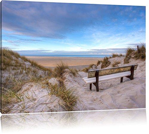 Pixxprint Blick auf das Meer als Leinwandbild | Größe: 80x60 cm | Wandbild | Kunstdruck | fertig bespannt