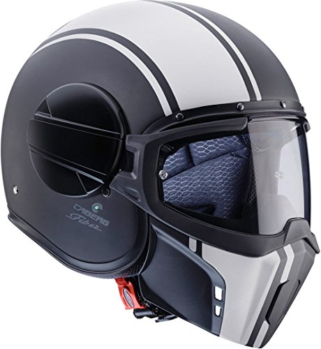Caberg Ghost Legend Fibra de Vidrio de Casco Jet Mate Negro de Color Blanco