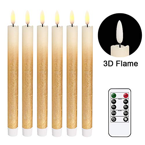 Wondise Remote Flameless Taper Candles Flickering with Timer, 6 Pack Gold LED Taper Window Candles Battery Operated Dinning Wedding Christmas Taper Candles(0.78 x 9.64 Inches)