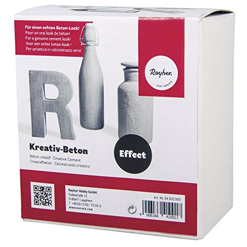 Rayher 34202000 Kreativ-Beton Paste, 1 Paste 250ml,2 Lasur 25ml, Karton 1Set