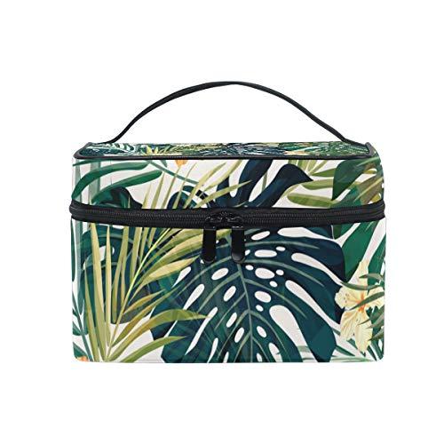 Ahomy - Bolsa de aseo para mujer, diseño de flores tropicales, hawaianas, hojas de palma, color rosa