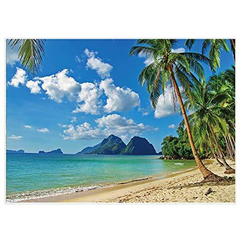 Allenjoy 2,1x1,5m Fondo Para Fotografía De Playa Tropical De Verano De Junto Al Mar Isla Palmeras Para Fotografía Azul Cielo Sol Luau Temática Decoración De Fiesta Accesorios De Estudio
