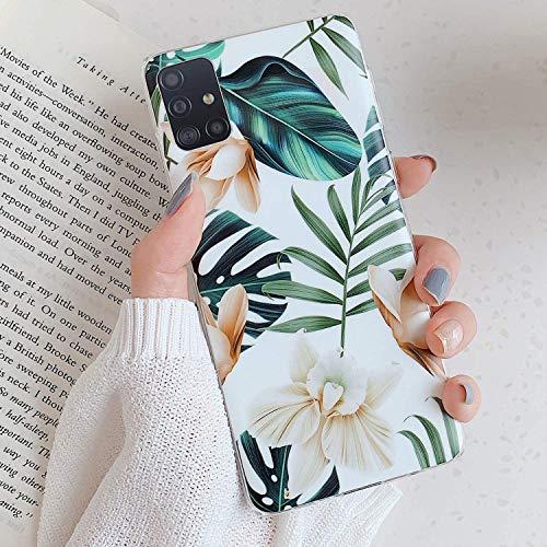 Uposao Kompatibel mit Samsung Galaxy A51 Hülle Silikon Ultra Dünn Handyhülle 3D Blumen Blätter Bunt Muster Weich TPU Schutzhülle Etui Kratzfest TPU Bumper Handytasche Hülle Cover,Weiß Blume