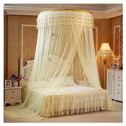 Moskitonetz Bett, Betthimmel Baldachin Mückenschutz Insektenschutz Netz für Doppelbetten Moskitonetz Bett Kinder Prinzessin Bett Baldachin Baby Betthimmel Elegante Bett Vorhang,Gelb,Freie Größe