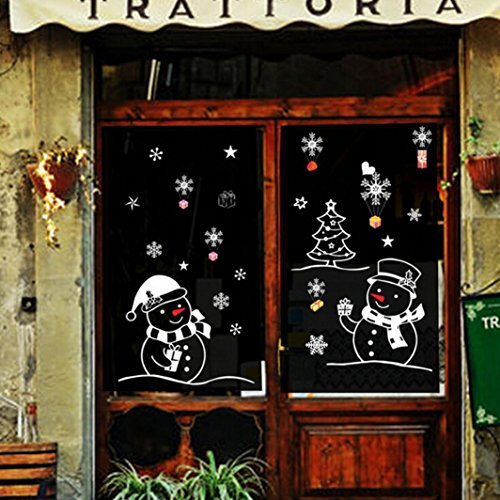 Stickers noel,Koly Stickers Muraux fenetre Vitres Decoration de Noël Autocollants flocon de neige pere noel decoration noel Salon vitrine De La Chambre deco noel (bonhomme de neige, 50*70cm)
