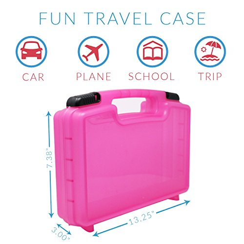 Life Made Better Carrying Organizer Case, Compatible with Magformers and Magna Tiles, Playset Organizer (Pink)