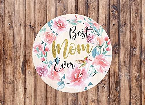 PotteLove Cartel de metal para decoración de pared, diseño retro con texto en inglés 'Best Mom Ever'