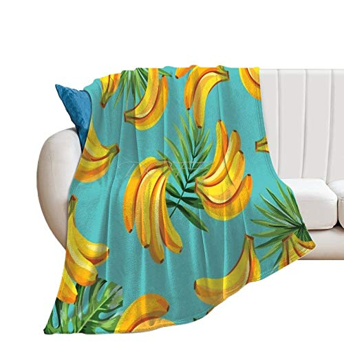 Throw Blanket for Couch Flannel Blankets Banana Bunch Fruit Food Healthy Yellow Lightweight Ultra Soft for All Season Farmhouse Decorative Blanket for Bed Sofa Travel Birthday Gift 40x50 Inch