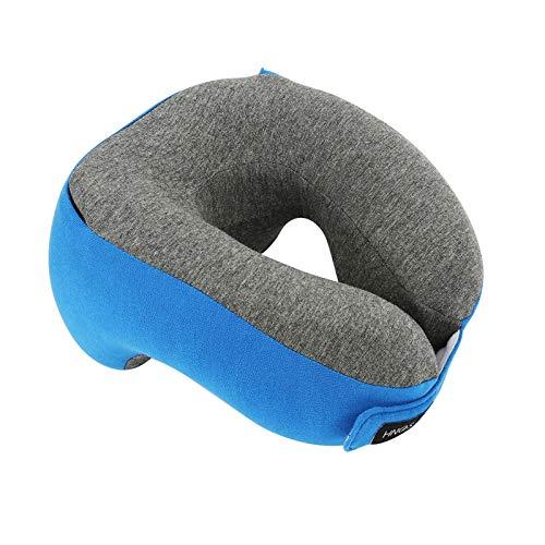 AUNKIER Almohada de viaje de espuma viscoelástica para bebé, cómoda y transpirable, para aviones y vuelos, ideal para viajes de cuello, almohadas (azul)