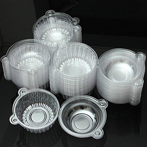 GEZICHTA - Caja individual de plástico de polietileno para magdalenas (100 unidades), Transparente, Tamaño libre
