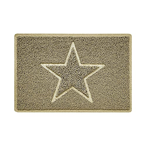 Nicoman Estrella - Felpudo Logotipo en Relieve Rizos de Vinilo Entrada Bienvenido Lavable Alfombra - (Usar en Interiores y Exteriores), Pequeño (60x40cm), Beige