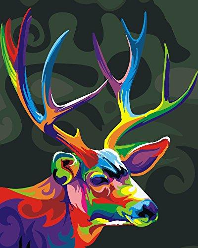 YEESAM ART Nouvelles Peinture au numero pour adulte enfants - Color Magic Cerf Deer 40x50 cm - DIY Painting by Numbers numéro Cadeaux de noël