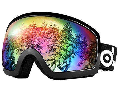 Odoland Skibrille, Ski Snowboard Brille Brillenträger Schibrille OTG UV-Schutz Kompatibler Helm Snowmobile Damen Herren Kinder für Skifahren VLT 18% Schwarz + Grün(Schwarzer Rahmen)