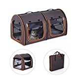 "Pawhut 39"" Soft-Sided Portable Dual Compartment Pet Carrier - Brown"