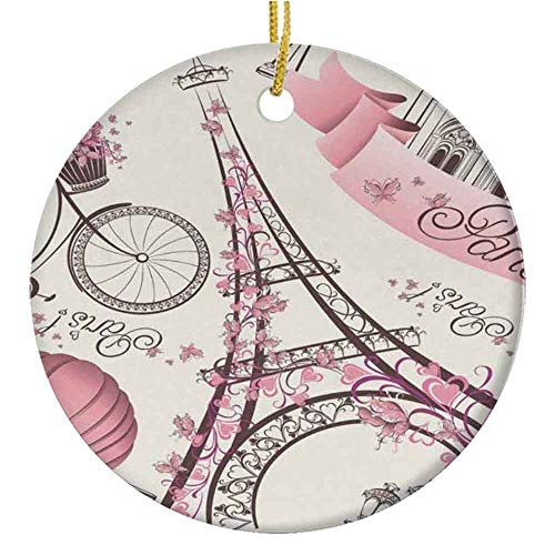 MAK060KFT Christmas Tree Ornament,Paris Eiffel Tower, Pink Bike City Ceramic Ornament,Holiday Ornament Friends Gift,Ceramic Holiday Decoration,2.87in