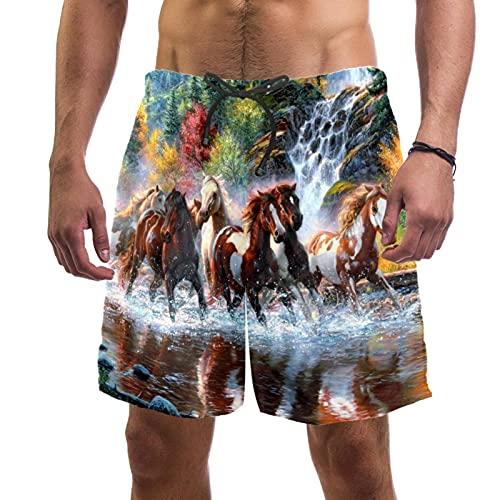 RuppertTextile Pantalones Cortos Hombre Bañadores Secado rápido Bolsillos CordónGrupo de Caballos Jugando Cascada Trajes baño Playa Deportivos Casuales