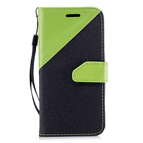 Coque Sony Xperia XZ2 Compact,Etui Sony Xperia XZ2 Compact,Surakey Sony Xperia XZ2 Compact Cuir PU Housse à Rabat Portefeuille Étui Flip Case Folio à Clapet Stand de Fermeture magnétique, Noir+Vert