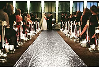 Wedding Carpet Aisle Runner Gold Glitter Runners 36Inchx15FT Wedding Party Prom Ceremony Decorations (36Inchx15FT, Silver)