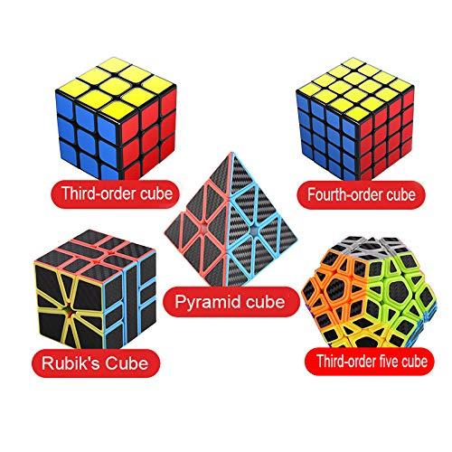 HZZ Speed Cubes 5.6x5.6x5.6 6.2x6.2x6.2 Pyraminx 5 Pack Puzzle Magic Cubes Juguete Adhesivo De Fibra De Carbono