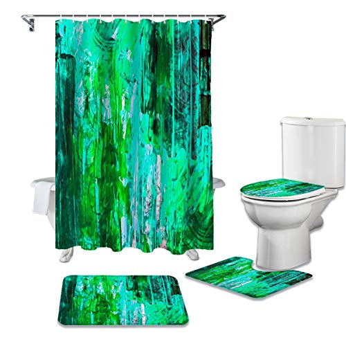 Bathroom Shower Curtain Sets with Rugs, Abstract Green Watercolor Art, 3 Piece Non-Slip Bath Mats, 72