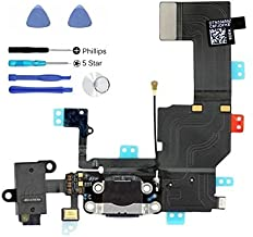 (md0410) Iphone 5C Black audio jack usb micro charging port charge dock connector charger mic flex ribbon cable Replacement Part + Tools Kit