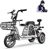 Bicicletas Eléctricas, 500W 3 Rueda de bicicleta eléctrica de 48V for adultos 8AH Montaña Scooter eléctrico 12 en bicicleta eléctrica de absorción de choque múltiple con la cesta del almacenaje y Kid