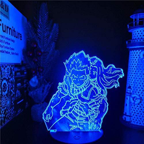 Luz de ilusión 3D Boku no Hero Academia Midoriya Izuku Eri LÁMPARA de Anime LED 3D Luces nocturnas My Hero Academia Lampara (con control remoto)