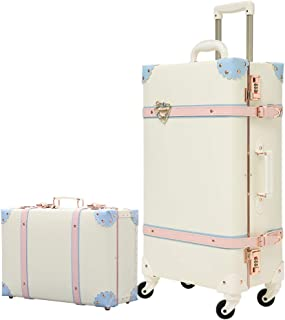 Girls Vintage Trolley Suitcase Sets Trunk Rolling Spinner 2 piece Luggage Sets for Women