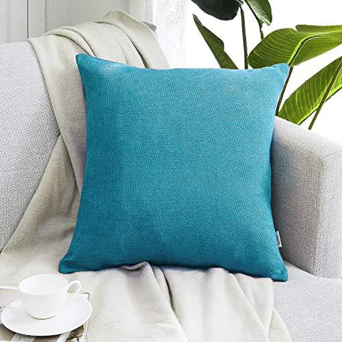 Topfinel クッションカバー リネンっぽい 60×60cm 北欧 おしゃれ 綿麻 無地 ソファ背当て 装飾枕カバー 座布団カバー ブルー 1枚(全10色)