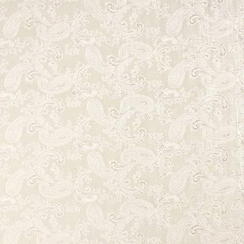 Futterstoff Jacquard Paisley changeant – wollweiss — Meterware ab 0,5m — zum Nähen von Futter, Mäntel und Blazer