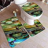 Alfombra de baño lavable con concha de abulón azul verde y morada, alfombra de piso de 3 piezas, almohadilla en forma de U+cubierta de tapa de inodoro en forma de O para bañera, baño, casa ducha