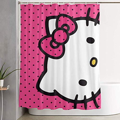 LIUYAN Shower Curtain with Hook - Hello Kitty Head Waterproof Polyester Fabric Bathroom Decor 60 X 72 Inches