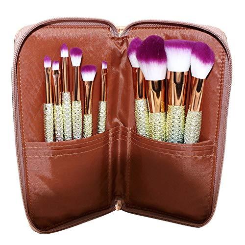 GBY Lot de 10 pinceaux de maquillage avec fond de teint poudre minéral visage avec support de maquillage, Fibre synthétique., 11, Free