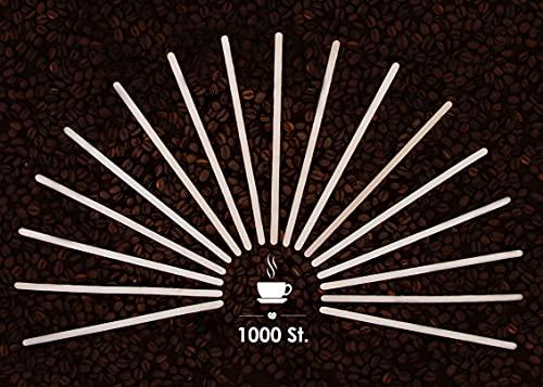 1000 St. Rührstäbchen Kaffeestäbchen aus Birkenholz 18 cm x 6mm - Umweltfreundlich, biologisch abbaubar