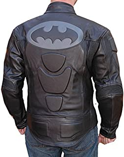 Motorcycle New Black Cowhide Leather Batman Racing Jacket All Sizes (Large)