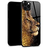 iPhone 11 Case, Tempered Glass Back Shell Lion Pattern Designed with Soft TPU Bumper Case for Apple iPhone 11 Cases 6.1 inch - Gold Lion