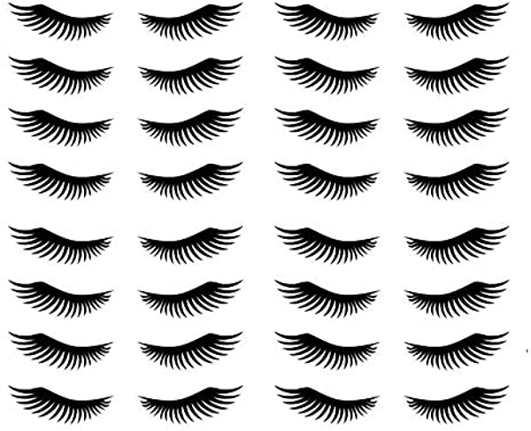 Richstar17 50 Eyelash Stickers Lashes Decals Beauty Party Invitation Removable Vinyl Black 2 5 X 0 9