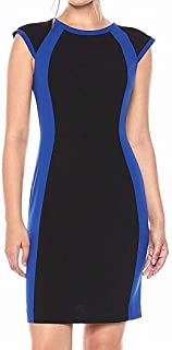 Lark & Ro Women's Dress Black Blue US Size 10 Sheath Seamed Colorblock