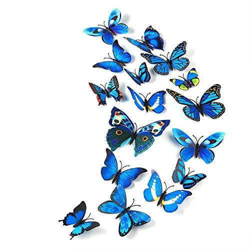 TUPARKA 36 pezzi 3D Butterfly Wall Stickers da parete Farfalle Ragazze Accessori per la camera da letto, blu