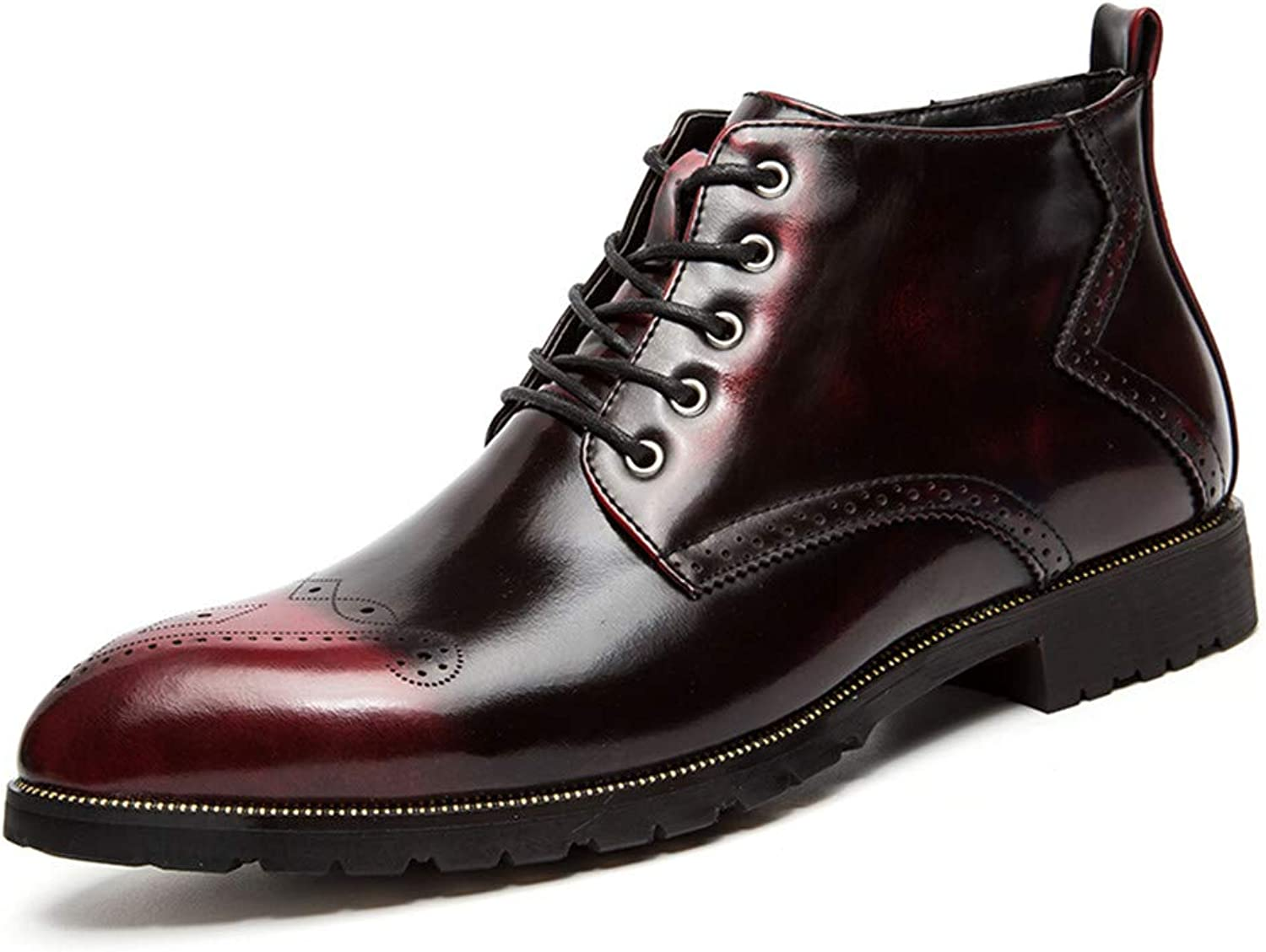 JIALUN-shoes Men's Fashion Ankle Boots Casual Classic Retro Brush color with Zipper top high Side Carved Brogue shoes