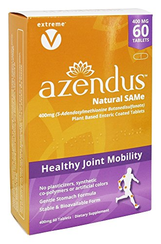 Azendus Natural SAM-e Joint Health Support, 60 Count, 400mg, Physician Trusted, 1 Recommended, Pure, Natural, Stable, Pharmaceutical Grade, Fast Absorption