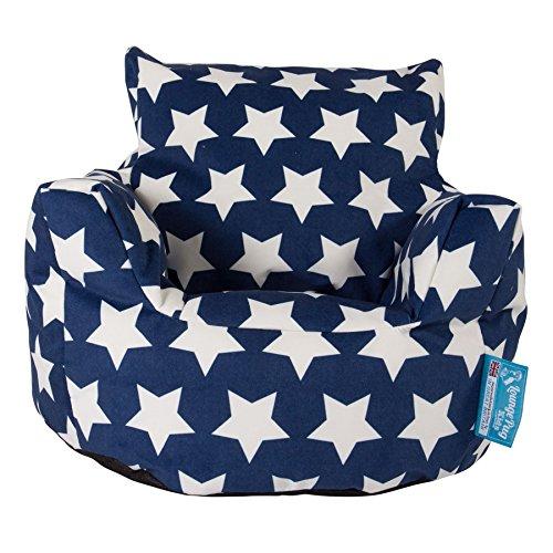 Lounge Pug®, Fauteuil Enfant, Pouf Enfant, Imprimé Bleu étoile